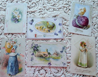 Easter Treasures One Booklet Cute Little Girls Hens and Chicks Antique Postcard Lot No 103 Total of 6