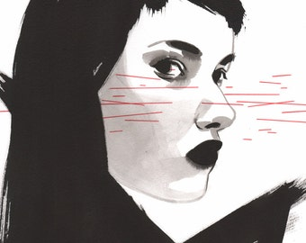 Red Eye - Original ink painting - sumi ink on white paper