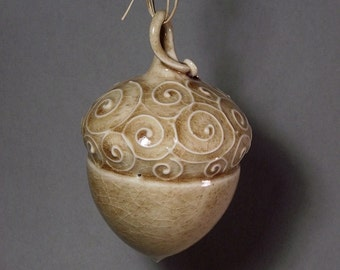 Brown acorn ornament, one of a kind, gifts under 50