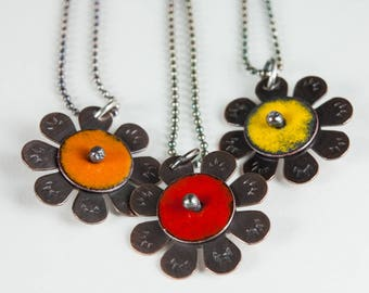 Tiny Sunflower Necklace in Yellow Red or Orange