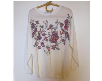 80s white floral pullover sweater - retro vintage hipster sweater - slouchy sweater - womens LARGE OVERSIZE - gift for friend - DALIA