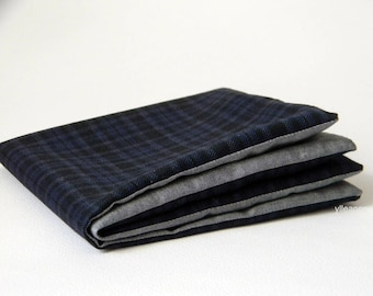 Pocket square - Double sided pocket square - Reversible Handkerchief -  Made in Italy -  Blue. Grey. Plaid.