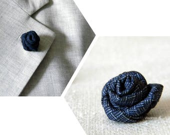 Men lapel pin. Lapel flower. Men boutonniere. Lapel stick pin. Flower lapel pin. Boutonniere. Indigo blue or navy blue.