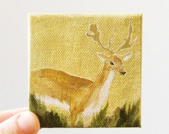 golden deer / miniature, original small painting