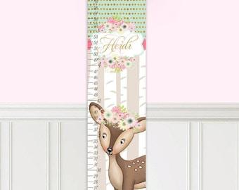 Canvas GROWTH CHART Sweet Deer Flowers Girls Bedroom Baby Nursery Wall Art GC0303