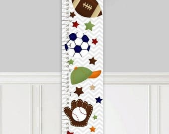 Canvas GROWTH CHART Grey Chevron Sports Kids Bedroom Nursery Personalized Kids Growth Chart Height Chart GC0322