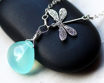 """Aqua Chalcedony Necklace, Dragonfly Necklace, Sterling Silver - """"Sea Dragon"""" by CircesHouse on Etsy"""