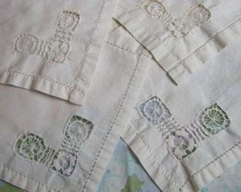 Beautiful Linens Four Matching Cream Colored Napkins or Handkerchiefs