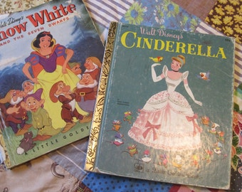 Cinderella and Snow White Two Vintage Golden Books from the 1950s and 1960s