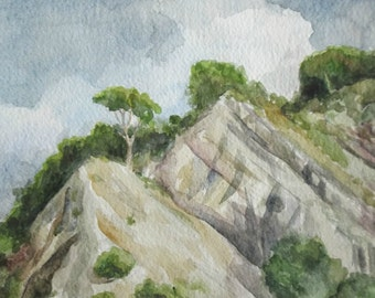 mediterranean mountain landscape watercolor original painting