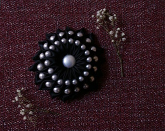Black Satin Ribbon Brooch w/ Pearl