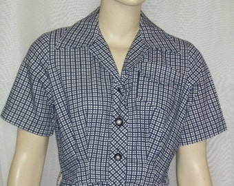 ON SALE Vintage 1940's Day Dress Navy White Checkered Small