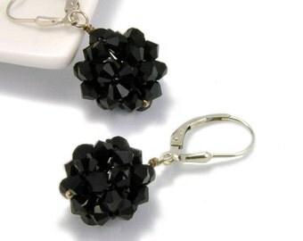 Swarovski Earring, Dangle Earring, Black Earring, Handmade Earring, Gift, Black Ball Earring