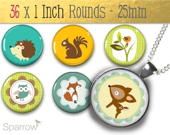 Woodland Creatures -1 Inch (25mm) Digital Collage Printable Images -Bottle Cap,Magnet and Glass Pendants -Buy 2 Get 1 Free -Instant Download