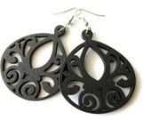 Large Black Swirl Wooden Dangle Earrings