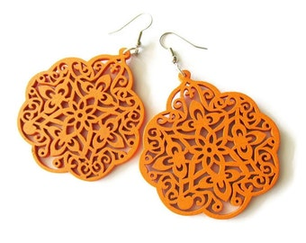 Large Orange Moroccan Style Filigree Wooden Dangle Statement Earrings