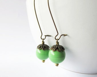 Apple Lime Green Glass Bead Long Drop Dangle Earrings   Hippie Style Everyday Wear Jewelry for Women   Antique Brass   Gift for Her