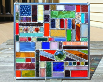 Multicolored Square Geometric Stained Glass Panel