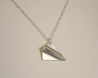 Paper Airplane Necklace Silver Folded Paper Airplane Paper Airplane Jewelry
