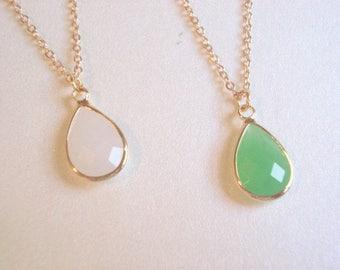 Green Glass Teardrop White Glass Necklace Bridesmaid Jewelry Light Green Teardrop Pendant White Tear Drop Necklace Bridesmaid Necklace