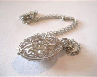 Silver Filigree Locket Necklace Keepsake Locket Silver Locket Jewelry