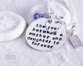The Love Between a Mother and Daughter is Forever - Sterling Silver Hand Stamped Necklace with Birthstone Crystals - Christina Guenther