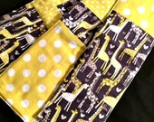 Burp Cloth Trio - Giraffe Dot Love  - A Set of Burp Cloths