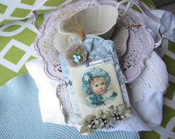 Vintage-style Baby Ornament - Welcome New Baby Boy Gift - Victorian Baby Boy