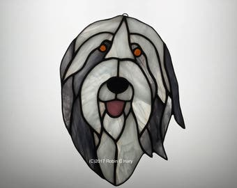 Bearded Collie Suncatcer in Stained Glass