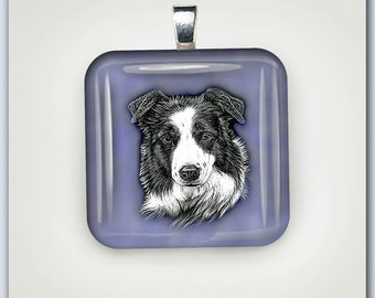Border Collie Dog with Blue Background Glass Pendant