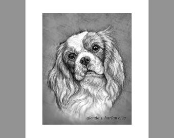 King Charles Cavalier Dog Fine Art 8x10 Print