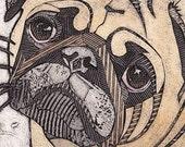 Pug Art Print, Original Fine Art, Collograph, short snouted dog - Pug 8