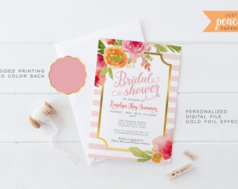BRIDAL SHOWER invitation | floral print | pink stripe | personalized | print at home