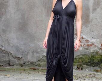Plus Size Maxi Dress, Black Renaissance Dress, Black Bridesmaid Dress, Black Long Dress, Halter Neck Dress, Oversize Dress, Open Back Dress