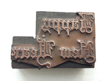 Antique Copper mounted on wood PRINTERS BLOCK - Happy New Year