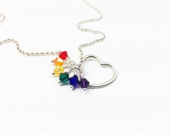 LGBT Pride Necklace - LGBTQIA Jewelry - Love Wins Necklace - Pride Flag Necklace - Coming Out Gift - Lesbian Jewelry - Silver Necklace