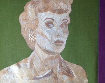 Lucy Ricardo of I Love Lucy. Portrait handmade with rice straw. It took over 5000 tiny pieces of leaves to make it.Priceless collectible Art