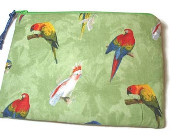 Padded Zipper Cosmetic Pouch in Perched Parrots Print