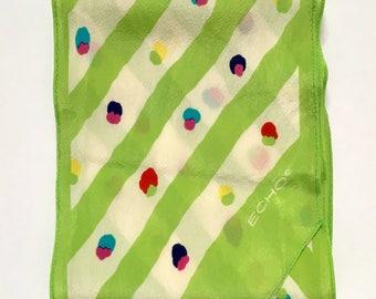 Vintage Echo Spring Green Silk Scarf