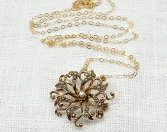 Victorian 14k Gold and Seed Pearl Pendant and Brooch