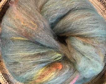 Rosemary's Got The Blues Sparkle Batt Spinning Fiber 2.55 ounces