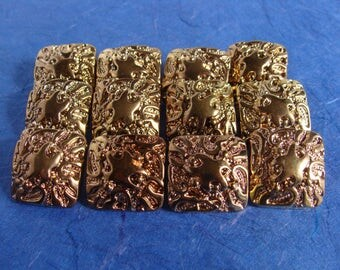 Set of 12 Square Gold Colored Shank Buttons - 23mm, 7/8 inch  - Downsizing SALE  Must Go!