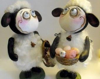Fait sur commande de poupées d'art Grimmy printemps Pâques Wooly le mouton