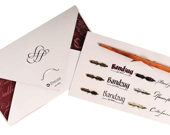 Brause Calligraphy Starter Kit - Six Nibs and Wooden Nib Holder