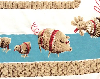 Calaprint Tablecloth Wicker Barnyard Animals Blue Red