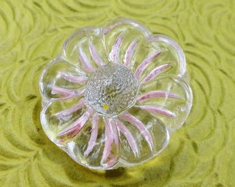 Flower Glass Vintage Button - Large Antique Daisy Clear with Pink Hand Painted for Jewelry Beads Sewing Knitting 7/8 inch 22mm