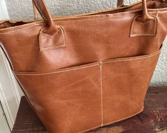 Medium Brown/ Tan Leather Tote Bag Purse With plenty of pockets! Medium brown leather bag handmade leather tote
