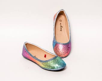 Youth - Sequin - Rainbow Colored Flat Dress Shoes