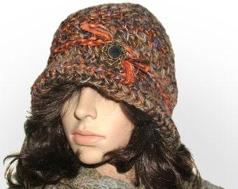 Crochet Cloche Beanie Flapper Hat in multi-color rustic tones Crochet brim hat