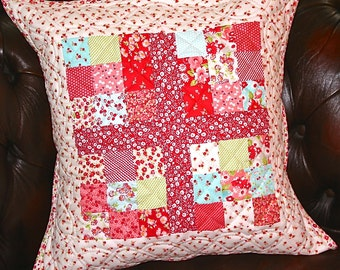 HandQuilted Clearance Sale Patchwork Pillow Cushion Bonnie and Camille fabric